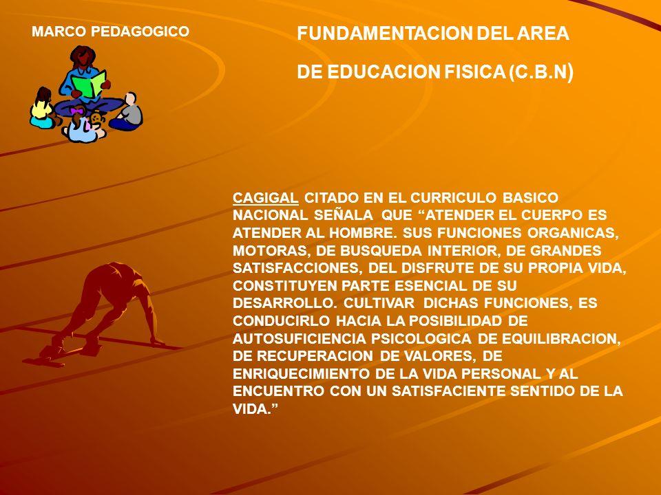 FUNDAMENTACION DEL AREA DE EDUCACION FISICA (C.B.N ) MARCO PEDAGOGICO CAGIGAL CITADO EN EL CURRICULO BASICO NACIONAL SEÑALA QUE ATENDER EL CUERPO ES A