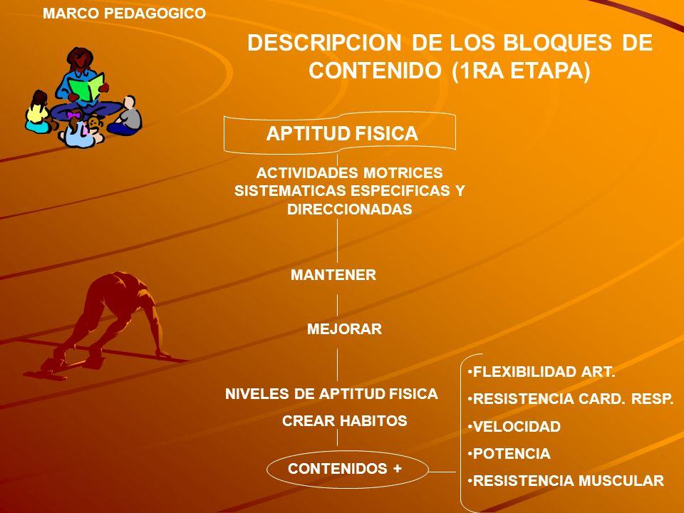 MARCO PEDAGOGICO DESCRIPCION DE LOS BLOQUES DE CONTENIDO (1RA ETAPA) APTITUD FISICA ACTIVIDADES MOTRICES SISTEMATICAS ESPECIFICAS Y DIRECCIONADAS MANT