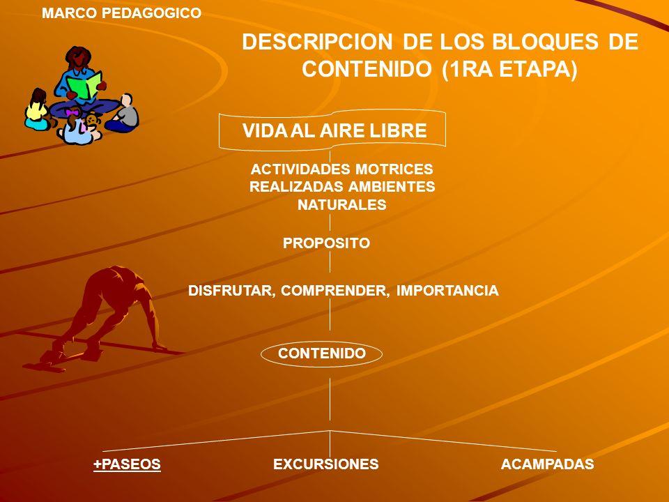 MARCO PEDAGOGICO DESCRIPCION DE LOS BLOQUES DE CONTENIDO (1RA ETAPA) VIDA AL AIRE LIBRE ACTIVIDADES MOTRICES REALIZADAS AMBIENTES NATURALES PROPOSITO