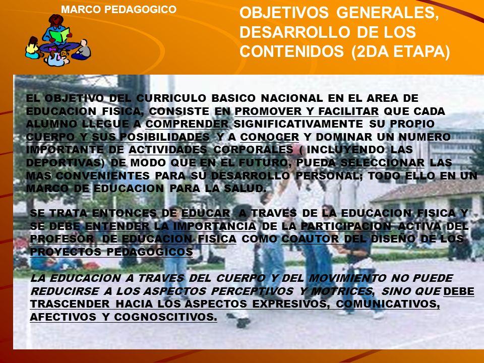 MARCO PEDAGOGICO OBJETIVOS GENERALES, DESARROLLO DE LOS CONTENIDOS (2DA ETAPA) EL OBJETIVO DEL CURRICULO BASICO NACIONAL EN EL AREA DE EDUCACION FISIC