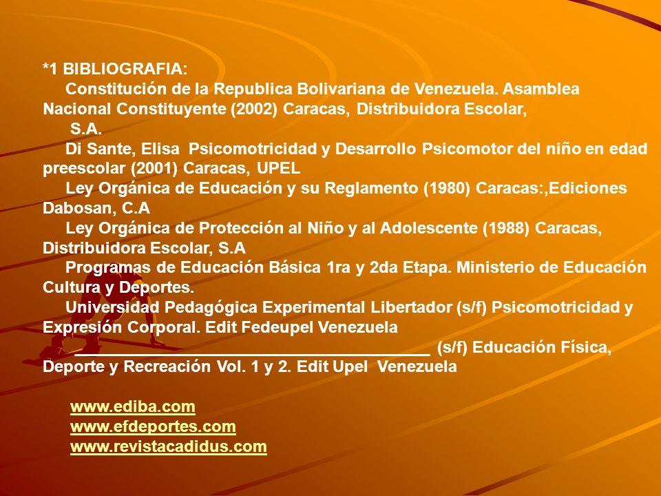 *1 BIBLIOGRAFIA: Constitución de la Republica Bolivariana de Venezuela. Asamblea Nacional Constituyente (2002) Caracas, Distribuidora Escolar, S.A. Di