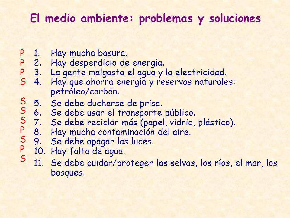 El medio ambiente: problemas y soluciones 1.Hay mucha basura. 2.Hay desperdicio de energía. 3.La gente malgasta el agua y la electricidad. 4.Hay que a