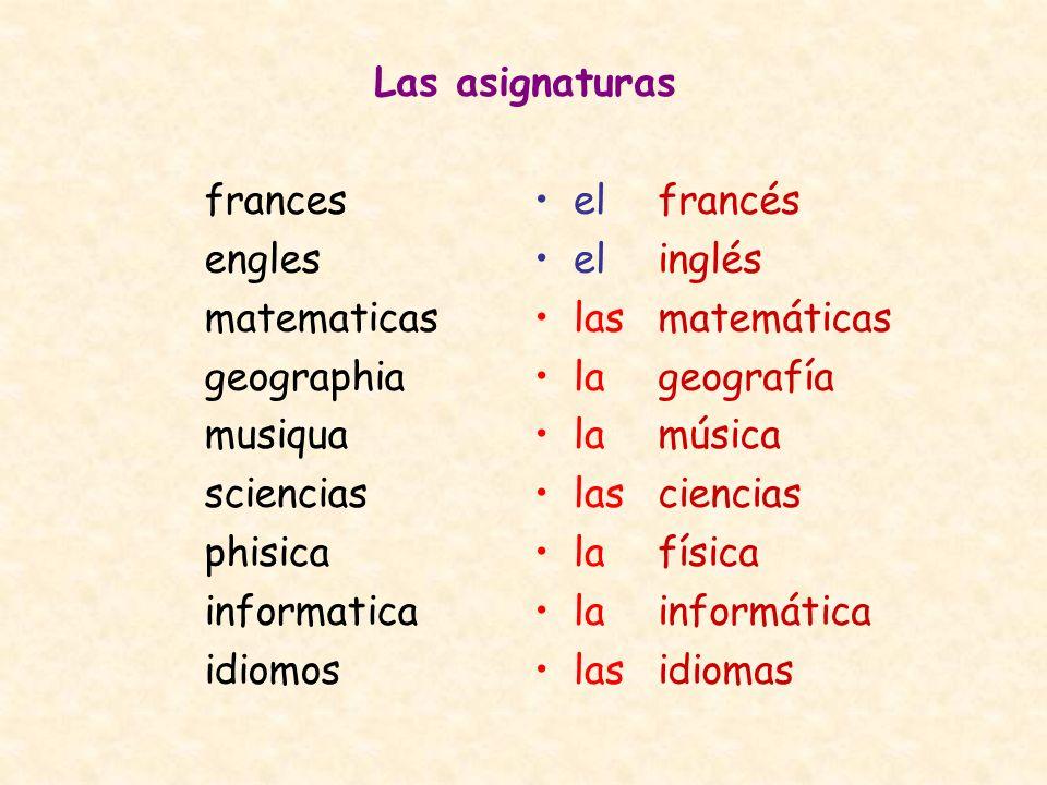 Las asignaturas frances engles matematicas geographia musiqua sciencias phisica informatica idiomos francés inglés matemáticas geografía música cienci