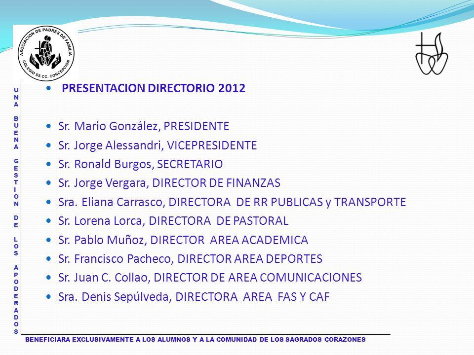 UNA BUENA GESTION DE LOS APODERADOS UNA BUENA GESTION DE LOS APODERADOS PRESENTACION DIRECTORIO 2012 Sr.