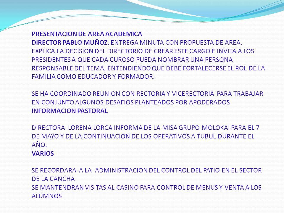 PRESENTACION DE AREA ACADEMICA DIRECTOR PABLO MUÑOZ, ENTREGA MINUTA CON PROPUESTA DE AREA.