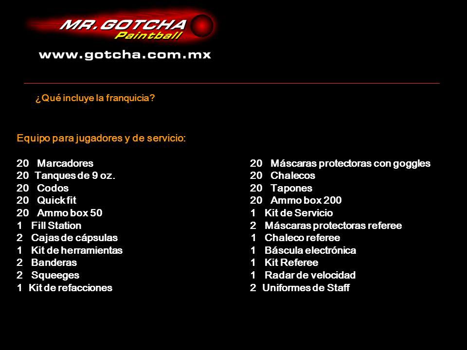 Equipo para jugadores y de servicio: 20 Marcadores 20 Máscaras protectoras con goggles 20 Tanques de 9 oz.