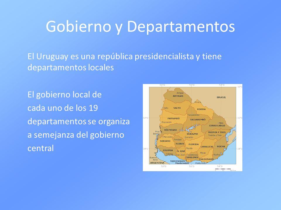 Gobierno y Departamentos El Uruguay es una república presidencialista y tiene departamentos locales El gobierno local de cada uno de los 19 departamen