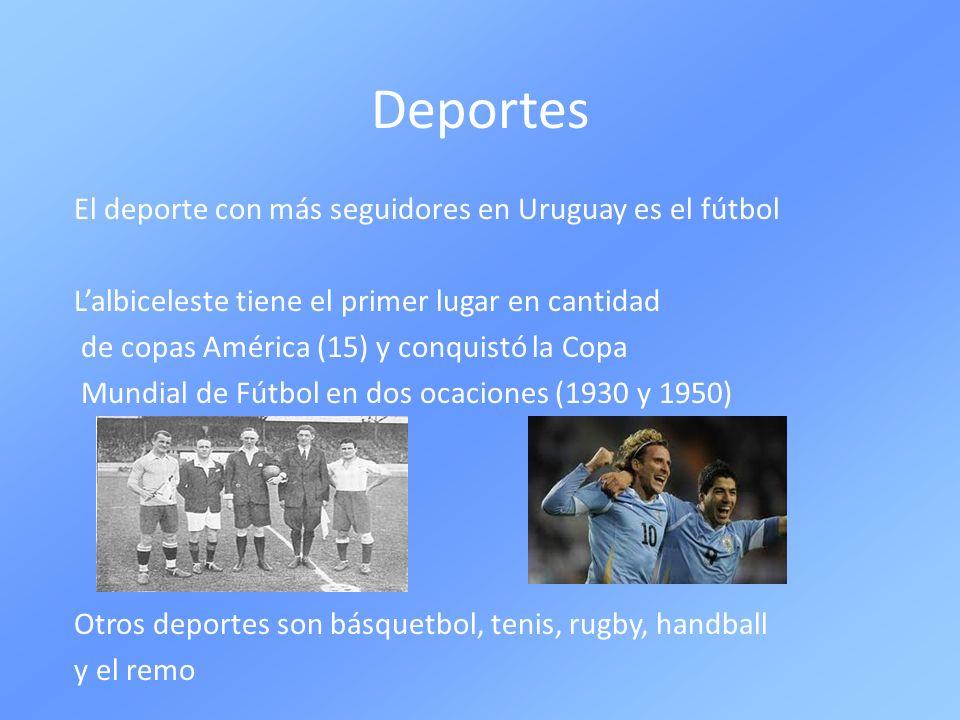 Deportes El deporte con más seguidores en Uruguay es el fútbol Lalbiceleste tiene el primer lugar en cantidad de copas América (15) y conquistó la Cop