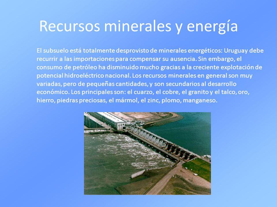 Recursos minerales y energía El subsuelo está totalmente desprovisto de minerales energéticos: Uruguay debe recurrir a las importaciones para compensa