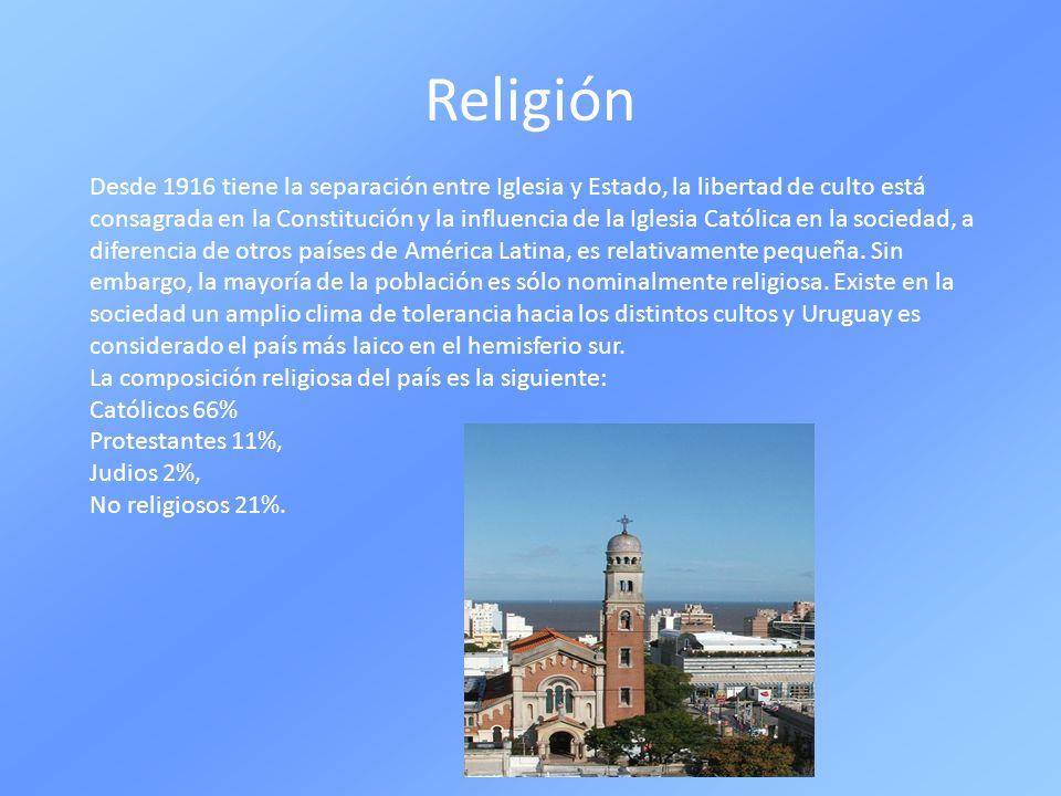 Religión Desde 1916 tiene la separación entre Iglesia y Estado, la libertad de culto está consagrada en la Constitución y la influencia de la Iglesia