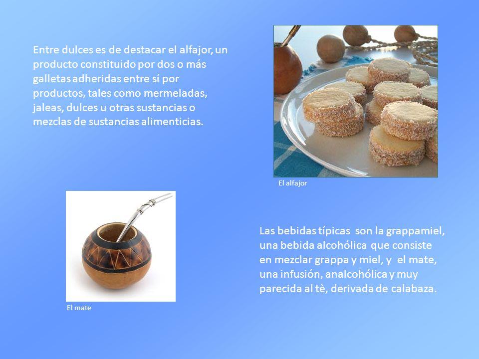 Entre dulces es de destacar el alfajor, un producto constituido por dos o más galletas adheridas entre sí por productos, tales como mermeladas, jaleas