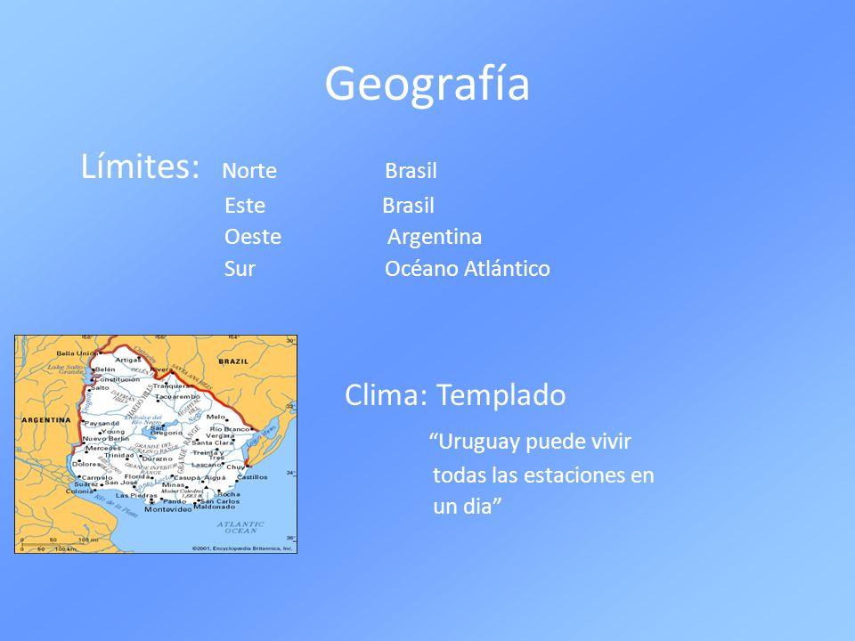 Geografía Límites: Norte Brasil Este Brasil Oeste Argentina Sur Océano Atlántico Clima: Templado Uruguay puede vivir todas las estaciones en un dia