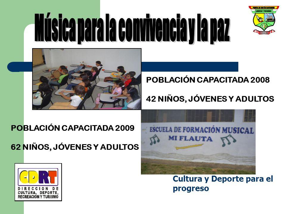 POBLACIÓN CAPACITADA 2008 42 NIÑOS, JÓVENES Y ADULTOS POBLACIÓN CAPACITADA 2009 62 NIÑOS, JÓVENES Y ADULTOS Cultura y Deporte para el progreso