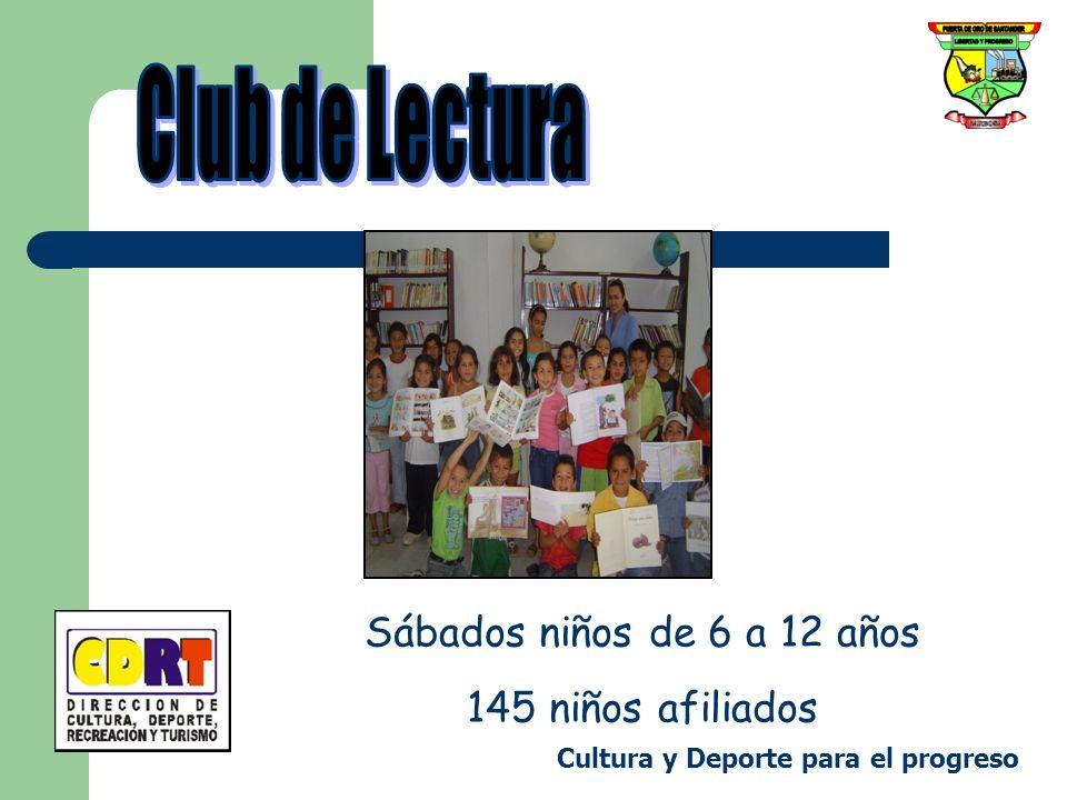 Sábados niños de 6 a 12 años 145 niños afiliados Cultura y Deporte para el progreso