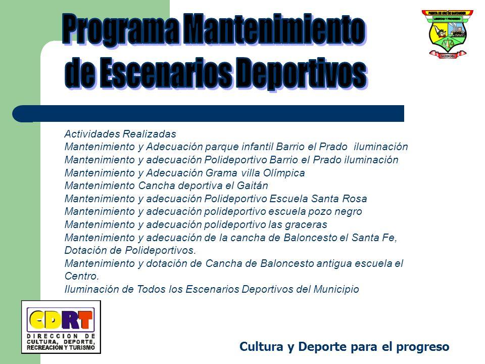 Cultura y Deporte para el progreso Actividades Realizadas Mantenimiento y Adecuación parque infantil Barrio el Prado iluminación Mantenimiento y adecu