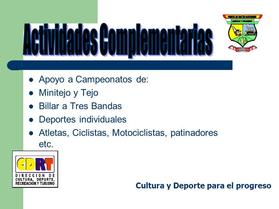Apoyo a Campeonatos de: Minitejo y Tejo Billar a Tres Bandas Deportes individuales Atletas, Ciclistas, Motociclistas, patinadores etc. Cultura y Depor