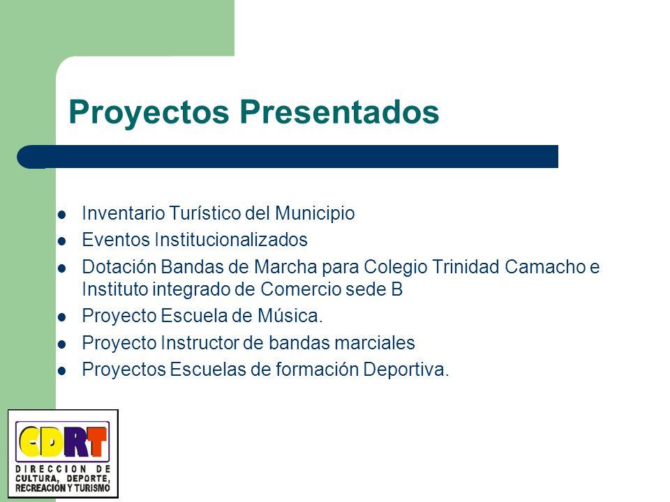 Proyectos Presentados Inventario Turístico del Municipio Eventos Institucionalizados Dotación Bandas de Marcha para Colegio Trinidad Camacho e Institu