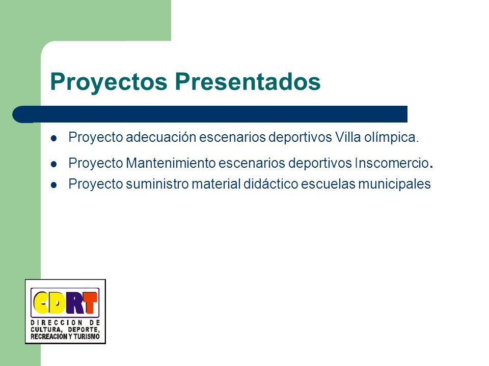 Proyectos Presentados Proyecto adecuación escenarios deportivos Villa olímpica. Proyecto Mantenimiento escenarios deportivos Inscomercio. Proyecto sum