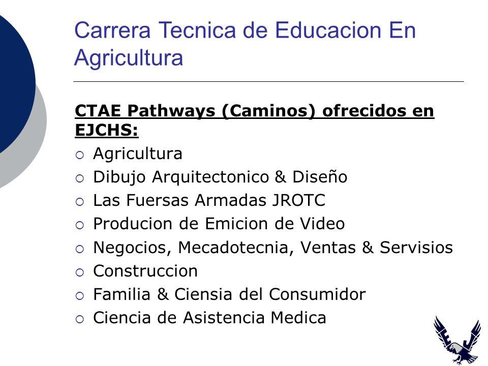 CTAE Pathways (Caminos) ofrecidos en EJCHS: Agricultura Dibujo Arquitectonico & Diseño Las Fuersas Armadas JROTC Producion de Emicion de Video Negocios, Mecadotecnia, Ventas & Servisios Construccion Familia & Ciensia del Consumidor Ciencia de Asistencia Medica Carrera Tecnica de Educacion En Agricultura