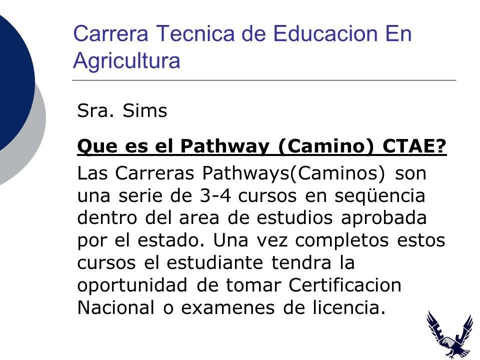 Carrera Tecnica de Educacion En Agricultura Sra. Sims Que es el Pathway (Camino) CTAE.