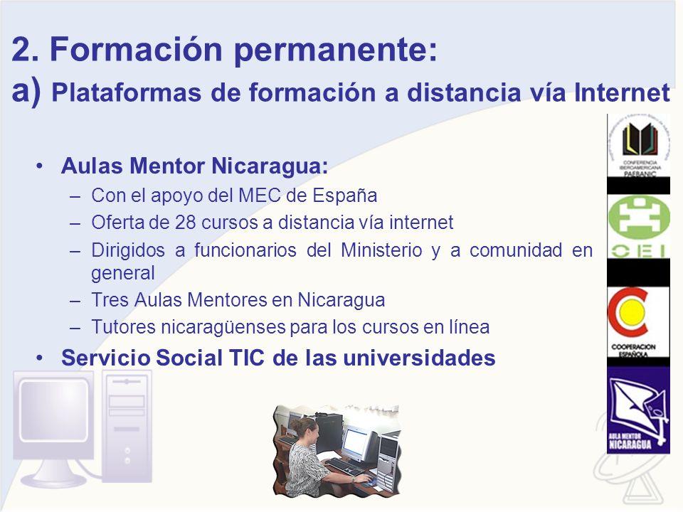 2. Formación permanente: a) Plataformas de formación a distancia vía Internet Aulas Mentor Nicaragua: –Con el apoyo del MEC de España –Oferta de 28 cu