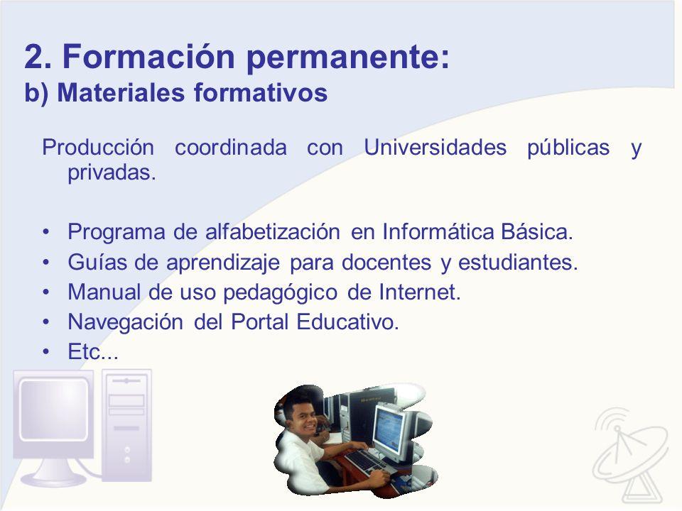 2. Formación permanente: b) Materiales formativos Producción coordinada con Universidades públicas y privadas. Programa de alfabetización en Informáti