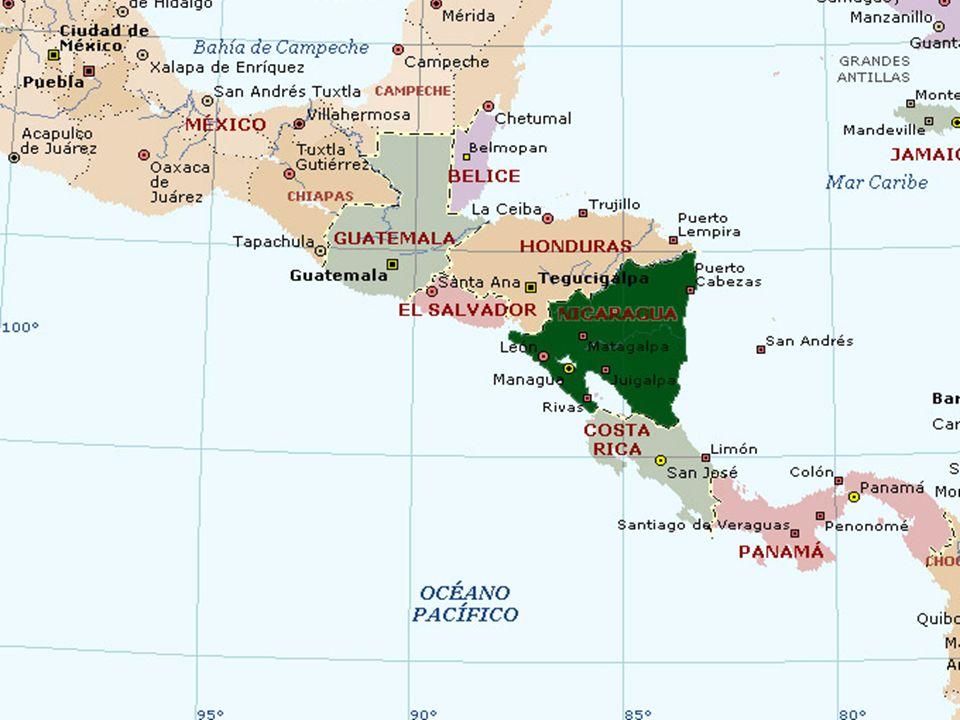 NombreNicaragua CapitalManagua Área: 129.494 km² Población5.232.216 División Territorial16 Departamentos MonedaCórdoba Temperaturaentre 23.3° C y 32°