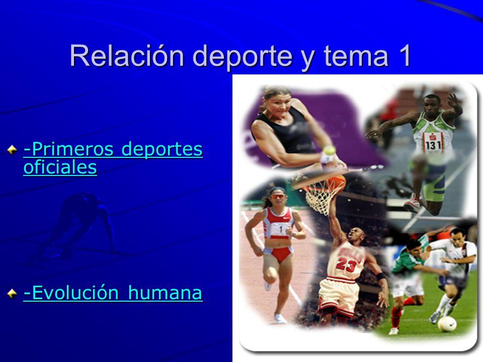 Relación deporte y tema 1 -Primeros deportes oficiales -Primeros deportes oficiales -Evolución humana -Evolución humana