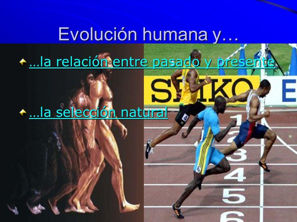 Evolución humana y… …la relación entre pasado y presente …la relación entre pasado y presente …la selección natural …la selección natural