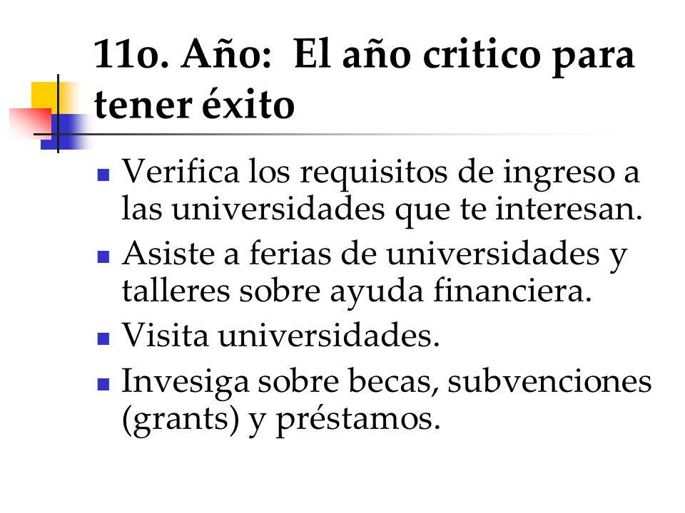 11o. Año: El año critico para tener éxito Verifica los requisitos de ingreso a las universidades que te interesan. Asiste a ferias de universidades y
