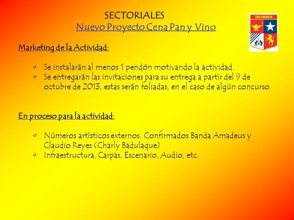 Nuevo Proyecto Cena Pan y Vino Marketing de la Actividad: Se instalarán al menos 1 pendón motivando la actividad.