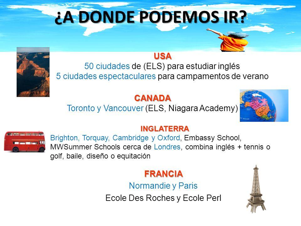 ¿QUE HACEMOS EN ANFAIG? TE ASESORAMOS Universidades Continuar estudios en Universidades, en USA, Canadá, Inglaterra y Francia Campamentos de verano Ca