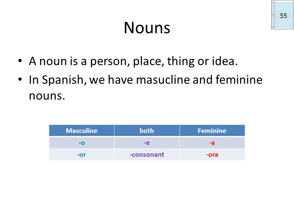 Nouns A singular noun is one person, place, thing or idea.