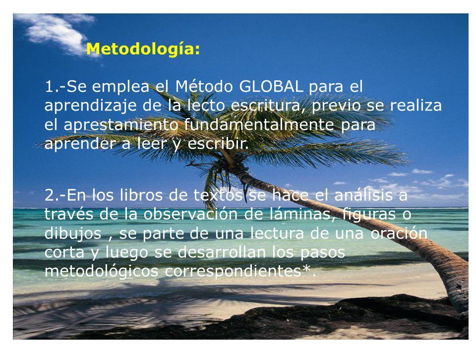 Metodología: 1.-Se emplea el Método GLOBAL para el aprendizaje de la lecto escritura, previo se realiza el aprestamiento fundamentalmente para aprender a leer y escribir.