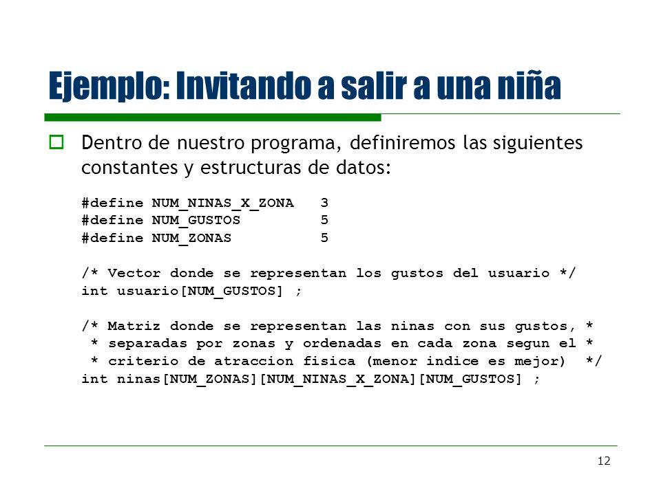 12 Ejemplo: Invitando a salir a una niña Dentro de nuestro programa, definiremos las siguientes constantes y estructuras de datos: #define NUM_NINAS_X