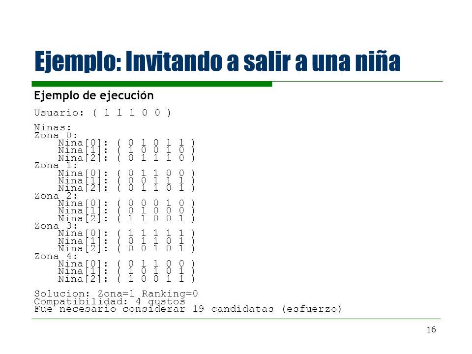 16 Ejemplo: Invitando a salir a una niña Ejemplo de ejecución Usuario: ( 1 1 1 0 0 ) Ninas: Zona 0: Nina[0]: ( 0 1 0 1 1 ) Nina[1]: ( 1 0 0 1 0 ) Nina