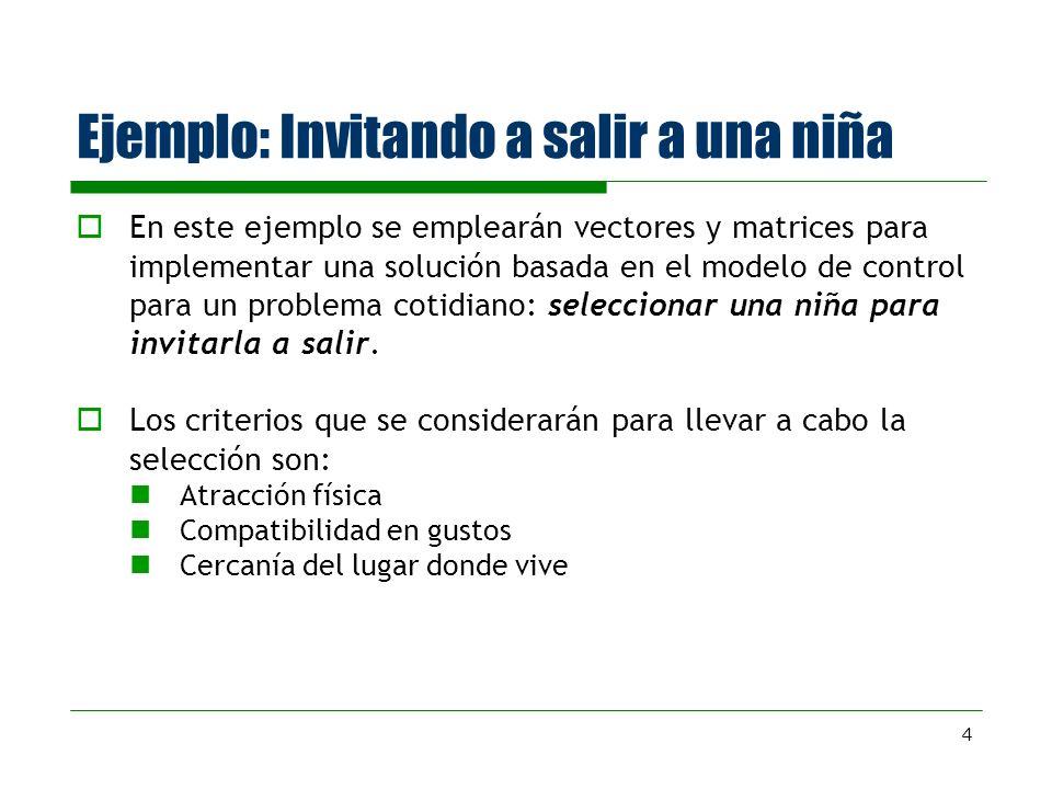 4 Ejemplo: Invitando a salir a una niña En este ejemplo se emplearán vectores y matrices para implementar una solución basada en el modelo de control