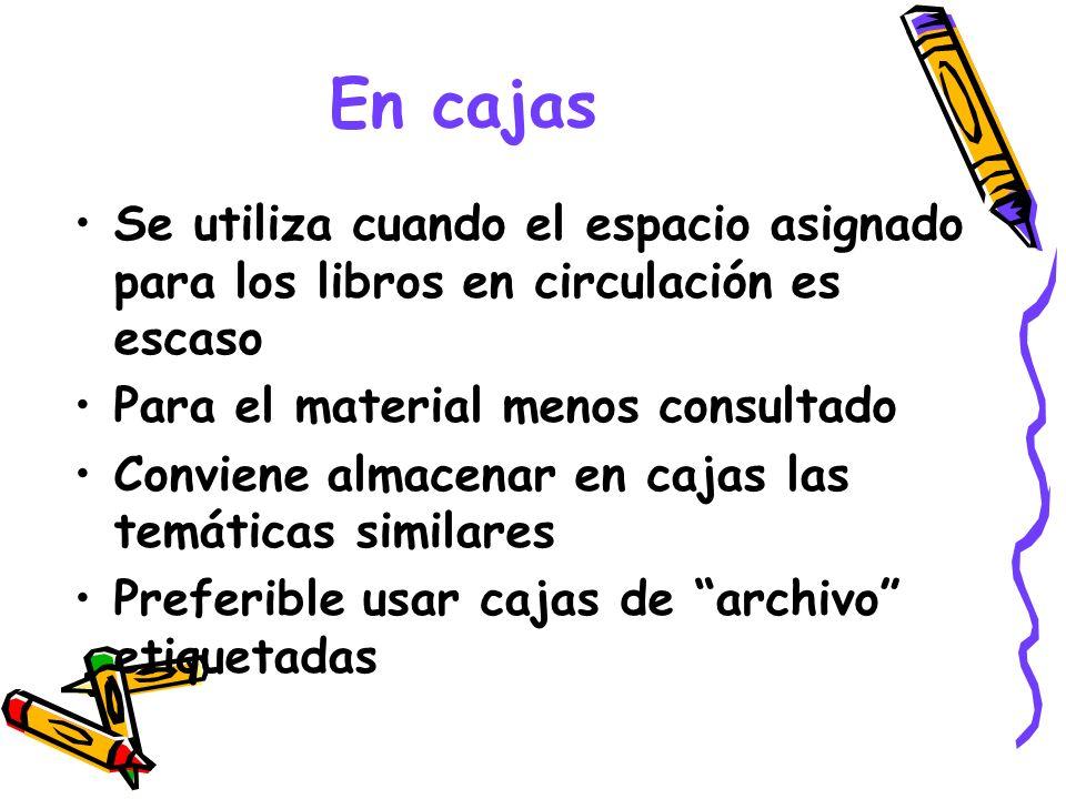 En cajas Se utiliza cuando el espacio asignado para los libros en circulación es escaso Para el material menos consultado Conviene almacenar en cajas