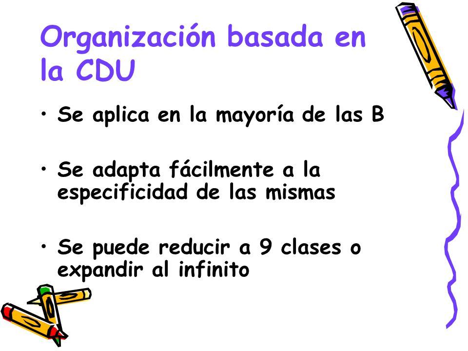 Organización basada en la CDU Se aplica en la mayoría de las B Se adapta fácilmente a la especificidad de las mismas Se puede reducir a 9 clases o exp
