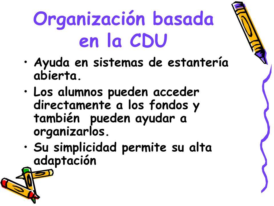Organización basada en la CDU Ayuda en sistemas de estantería abierta. Los alumnos pueden acceder directamente a los fondos y también pueden ayudar a