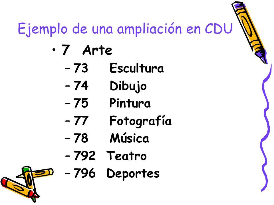 Ejemplo de una ampliación en CDU 7 Arte –73 Escultura –74 Dibujo –75 Pintura –77 Fotografía –78 Música –792 Teatro –796 Deportes