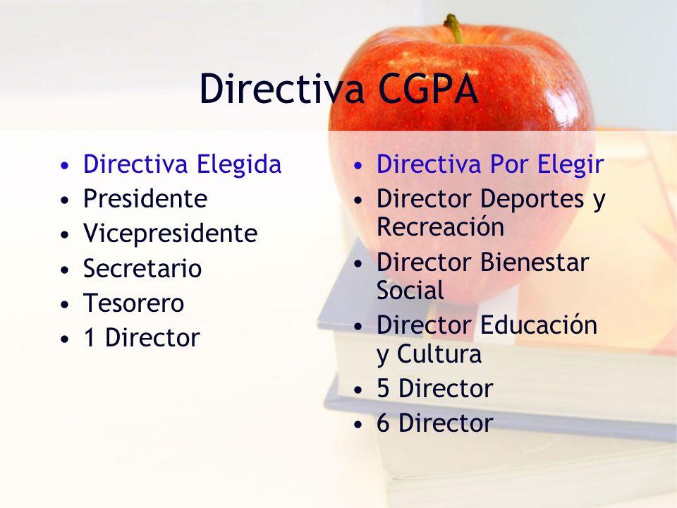 Directiva CGPA Directiva Elegida Presidente Vicepresidente Secretario Tesorero 1 Director Directiva Por Elegir Director Deportes y Recreación Director