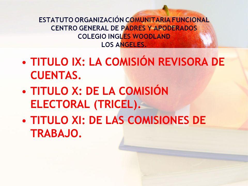 TITULO IX: LA COMISIÓN REVISORA DE CUENTAS. TITULO X: DE LA COMISIÓN ELECTORAL (TRICEL). TITULO XI: DE LAS COMISIONES DE TRABAJO. ESTATUTO ORGANIZACIÓ