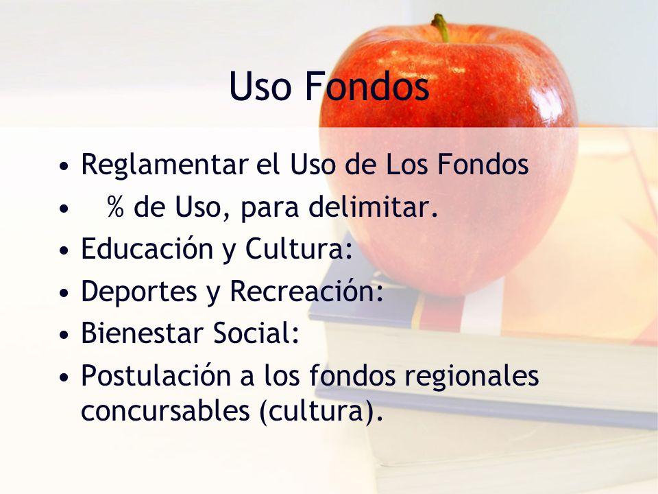 Uso Fondos Reglamentar el Uso de Los Fondos % de Uso, para delimitar. Educación y Cultura: Deportes y Recreación: Bienestar Social: Postulación a los