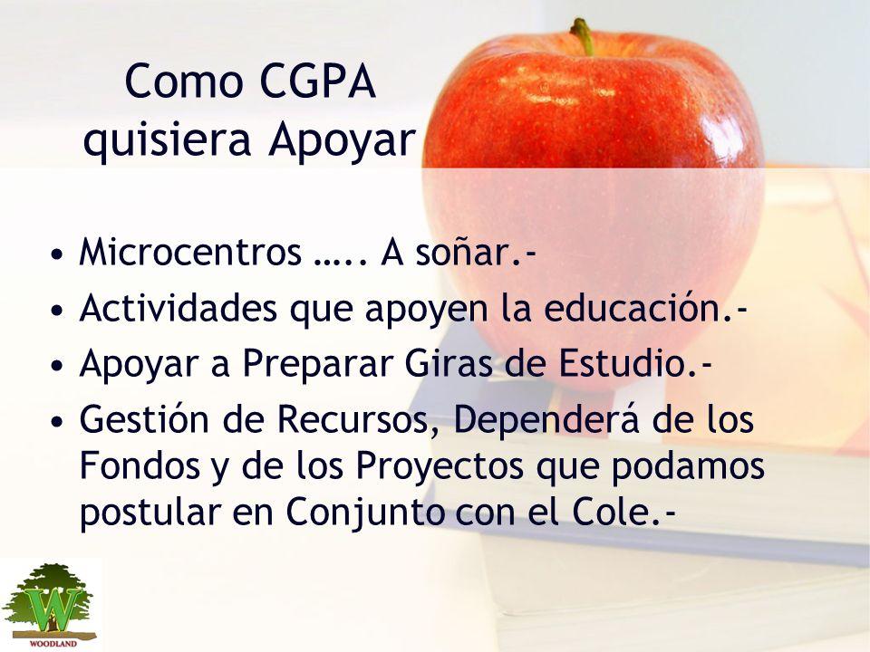 Lo Mas Importante I Que los padres confíen en que el CGPA trabajará activamente junto al colegio para el bienestar de sus hijos, gestionando toda iniciativa que permita fortalecer, enriquecer la educación que nuestro colegio otorga.