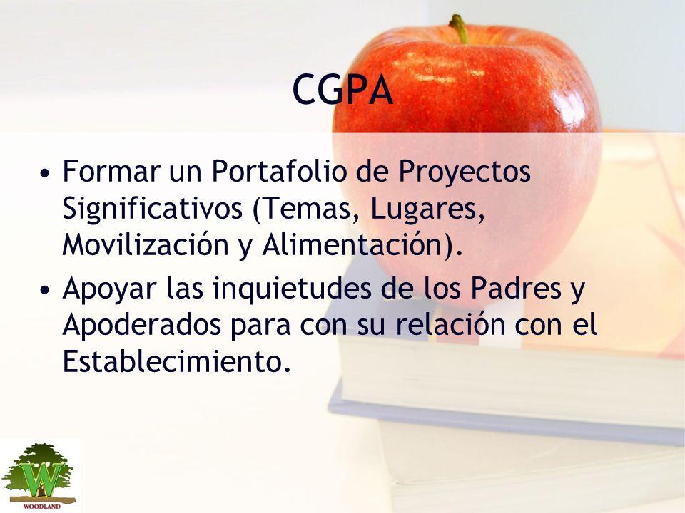 CGPA Formar un Portafolio de Proyectos Significativos (Temas, Lugares, Movilización y Alimentación). Apoyar las inquietudes de los Padres y Apoderados