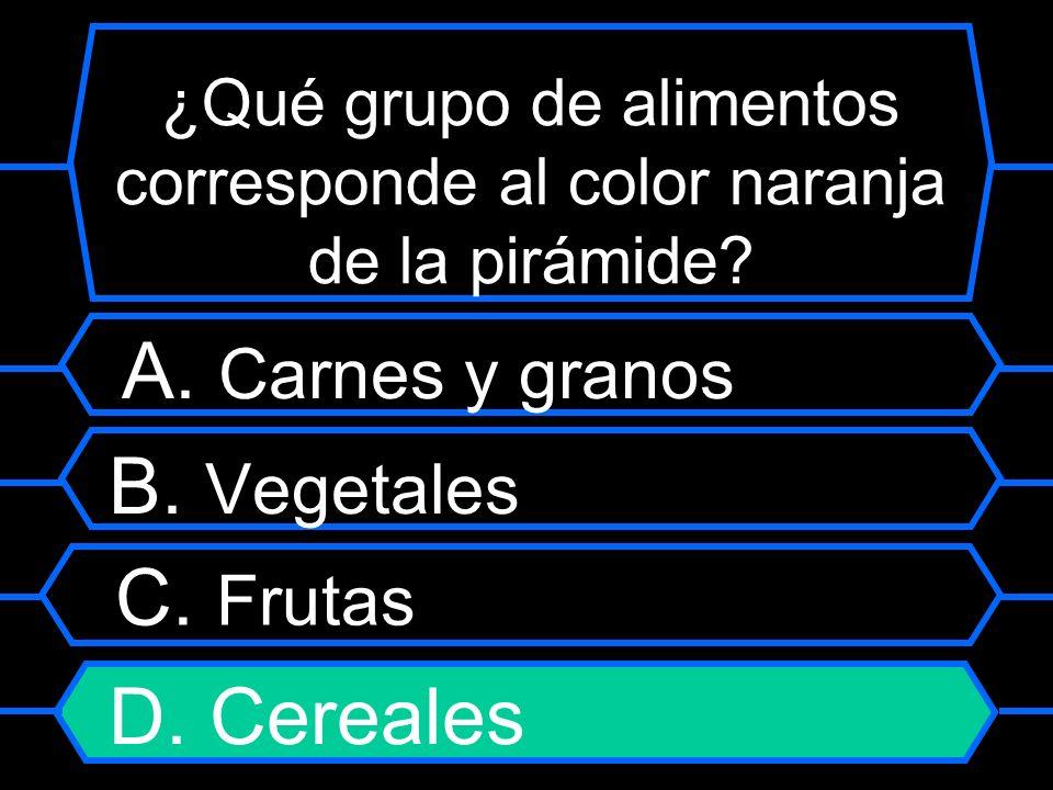 ¿Qué grupo de alimentos corresponde al color naranja de la pirámide? A. Carnes y granos B. Vegetales C. Frutas D. Cereales
