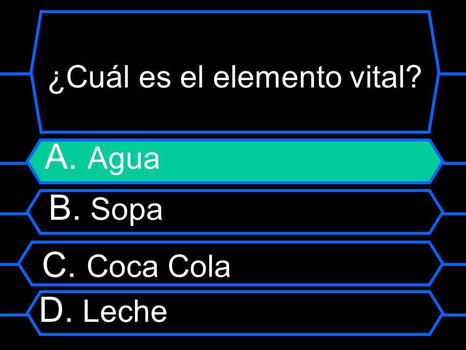 ¿Cuál es el elemento vital? A. Agua B. Sopa C. Coca Cola D. Leche