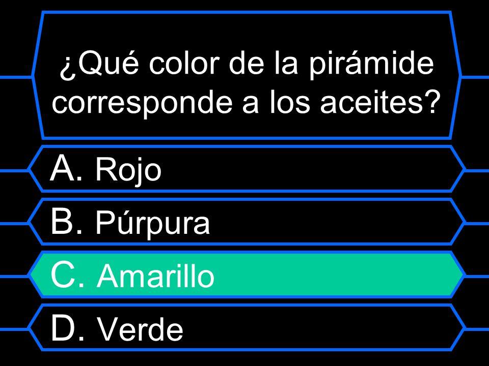 ¿Qué color de la pirámide corresponde a los aceites? A. R ojo B. Púrpura C. Amarillo D. Verde