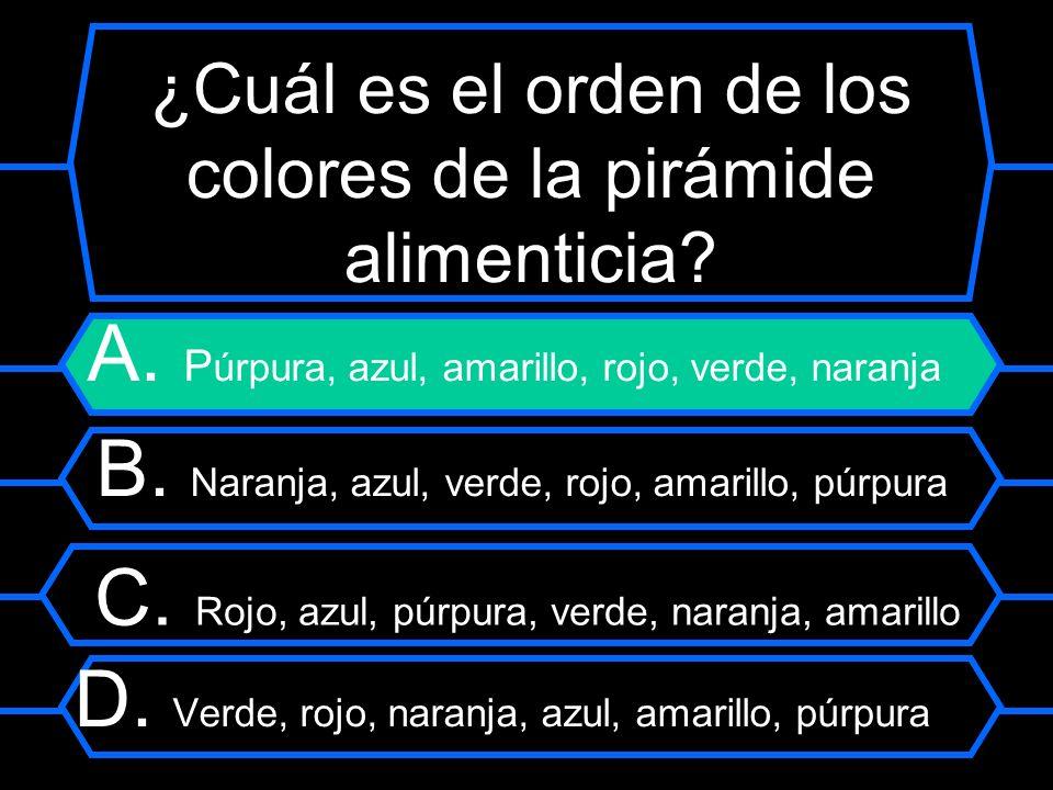 ¿Cuál es el orden de los colores de la pirámide alimenticia? A. P úrpura, azul, amarillo, rojo, verde, naranja B. Naranja, azul, verde, rojo, amarillo